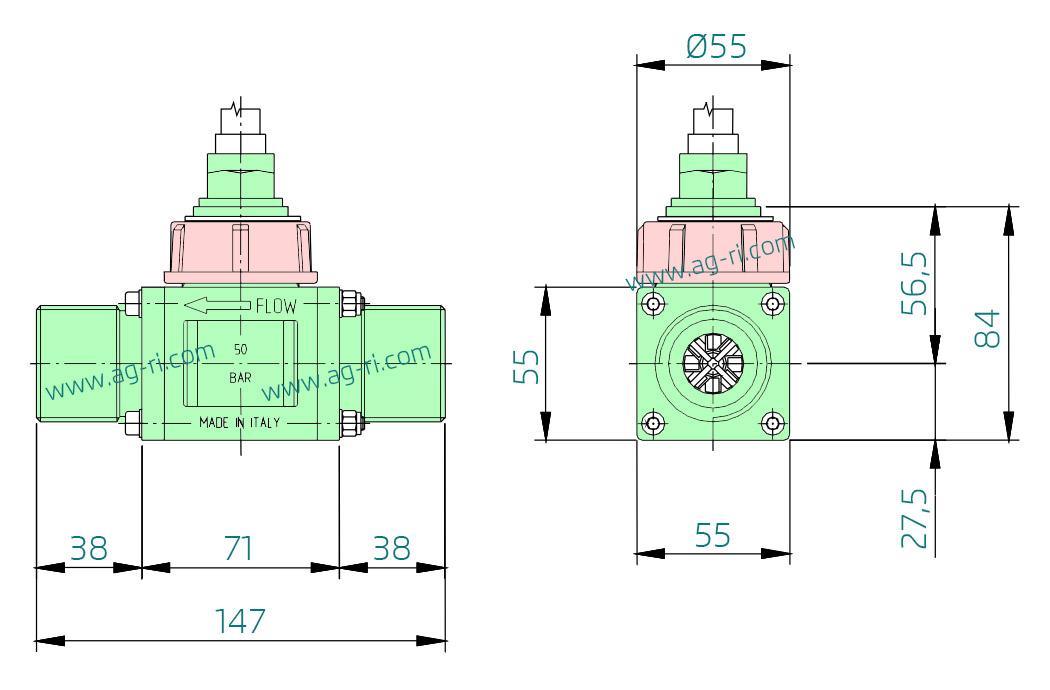 Размеры расходомера Polmac 00375908 1″ зелёный