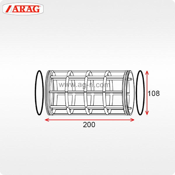 Размеры фильтроэлемента 108×200 фильтра Arag 316