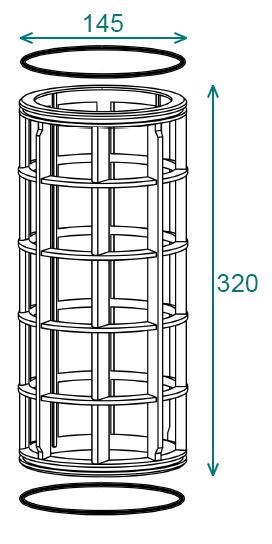 Размеры фильтроэлемента 145x320 фильтра Arag 319
