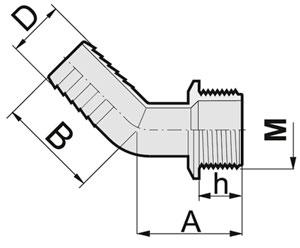 Изогнутый штуцер 45 градусов наружная резьба