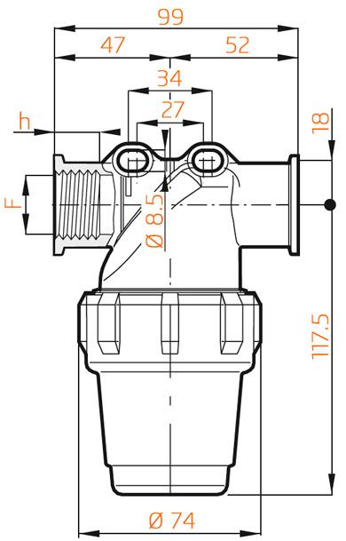 Напорный фильтр Arag 324-2 размеры