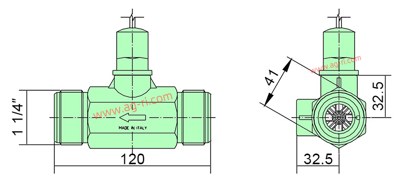 Размеры корпуса расходомера Polmac 1 1/4 зелёного