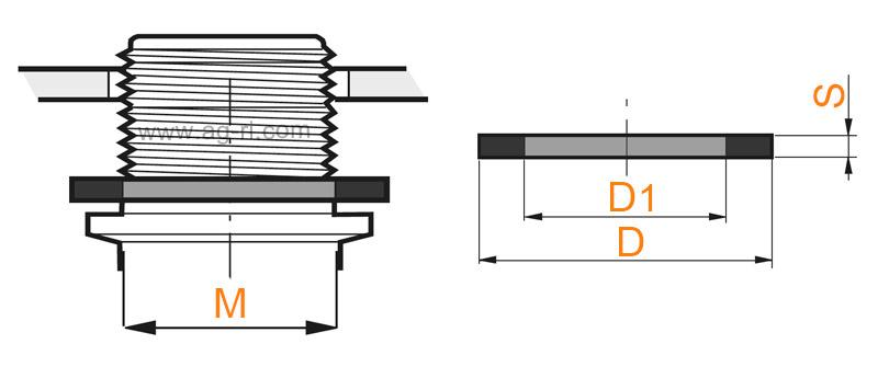 Размеры прокладки плоской для фитингов