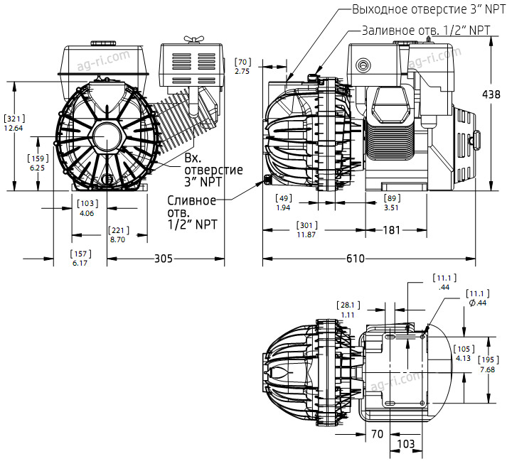 Размеры мотопомпы Hypro 1543