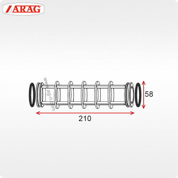 Размеры фильтроэлемента 58×210 фильтра Arag 326-328
