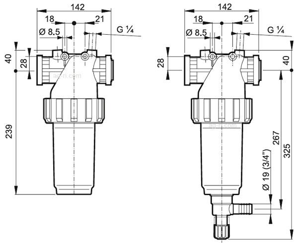 Размеры Напорного фильтра Arag с фланцевым соединением
