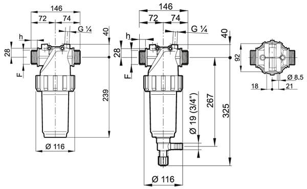 размеры напорный фильтр 326-2 наружная резьба