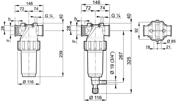 Таблица размеров фильтра Arag 328-2