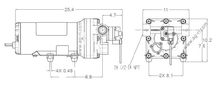 Размеры насоса 12 вольт Shurflo 5059-1310-d011