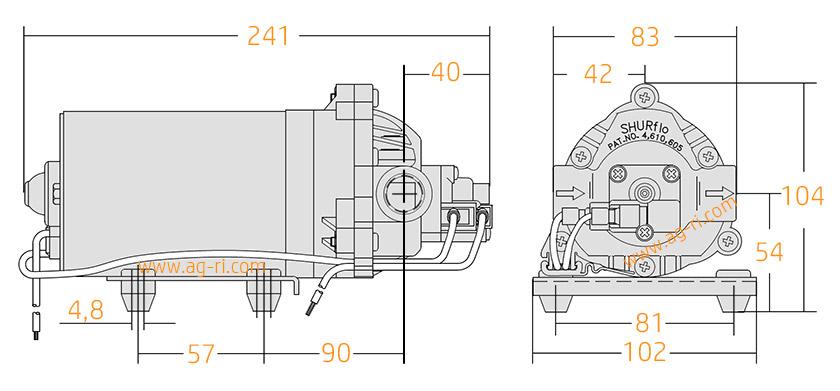 Размеры насоса 12 Вольт Shurflo 8030-813-239