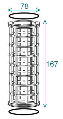 Размеры фильтроэлемента 78×167 фильтра Arag 314