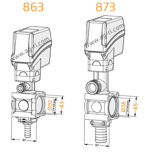 Размеры электроклапанов араг 863 873