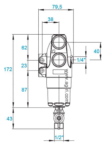 Размеры фильтра Braglia M144 большой латунный