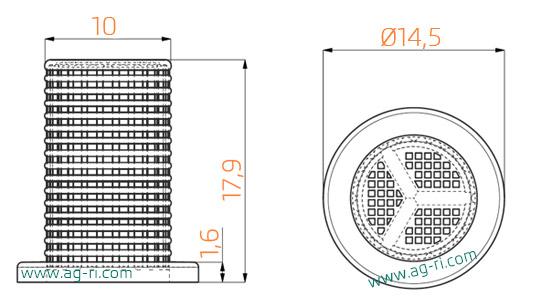 Размеры маленького фильтра 08 форсунки Agroplast