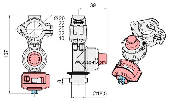 Размеры форсунки Agroplast 0-100/09 на трубу опрыскивателя
