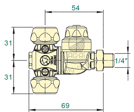 Размеры форсунки Braglia M65