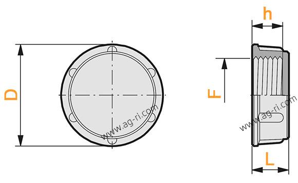 Размеры гайки-заглушки Arag