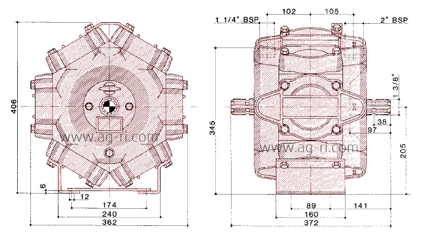 Размеры насоса Hardi 463 серии