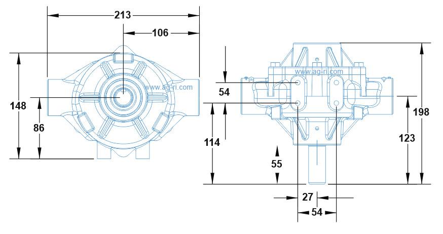 Размеры насоса Hypro 1700c