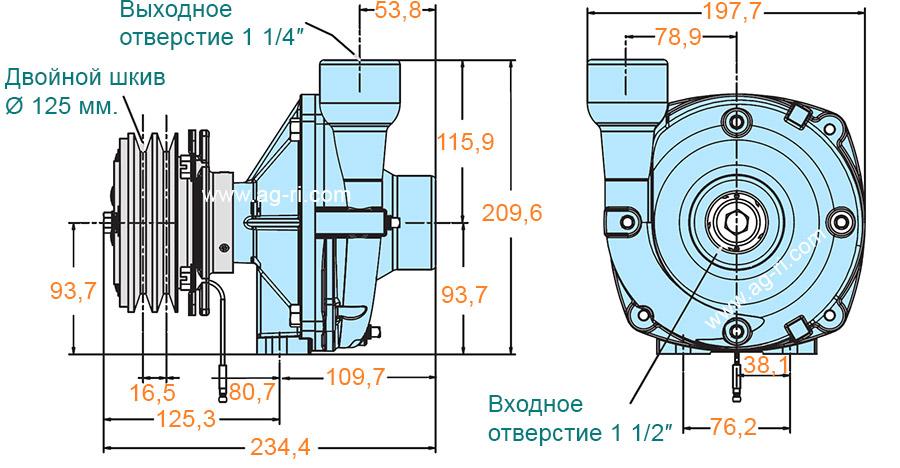 Размеры насоса Hypro 9263C-CR со шкивом