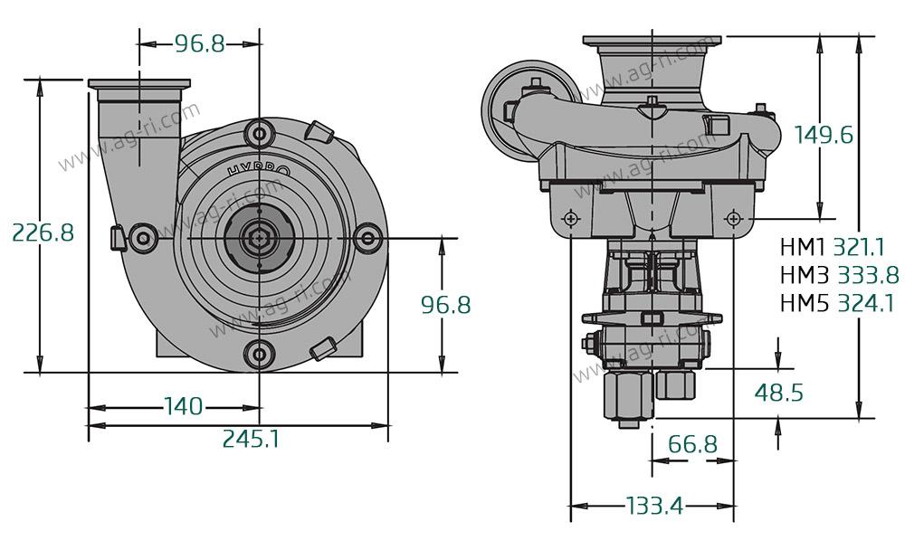Размеры насоса Hypro 9306C-HM5C-B3U гидравлика фланец