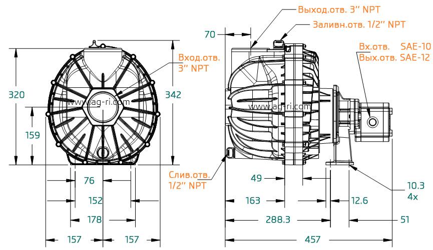 Размеры помпы Hypro 9343P-GM6-SP