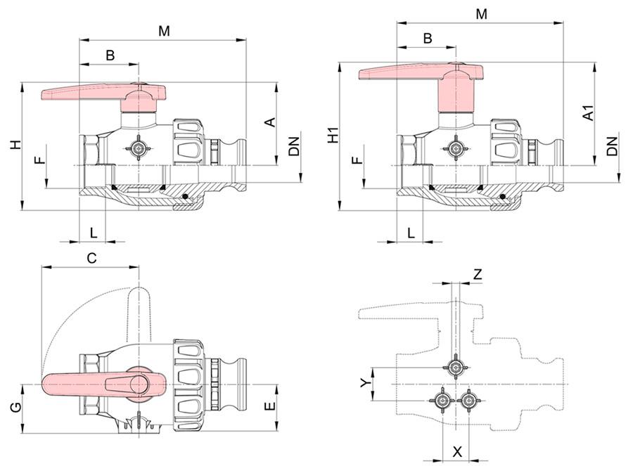 Размеры крана 2-ходовой Arag 455 быстроразъём