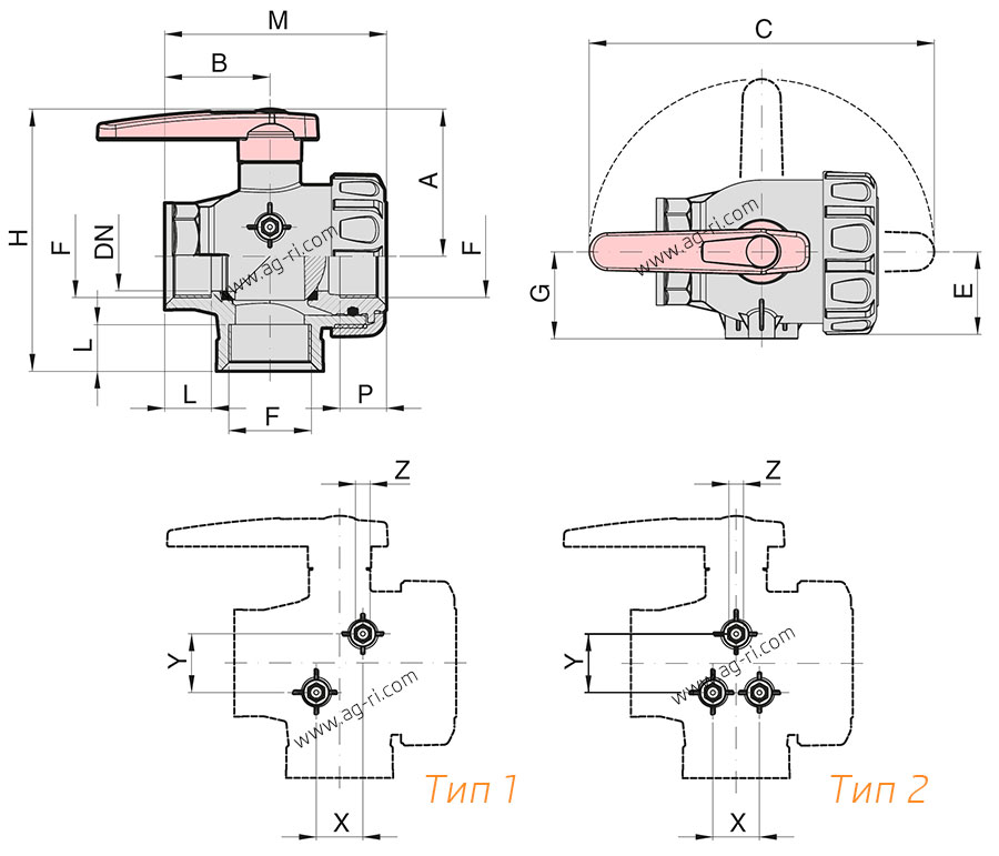 Размеры крана 3-ходового Arag 455