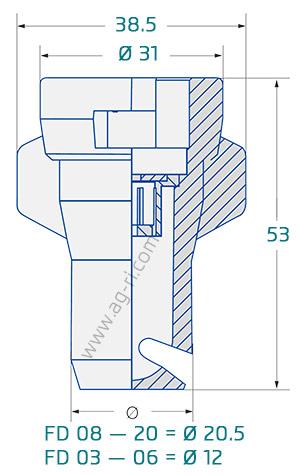 Размеры распылителя Lechler FD
