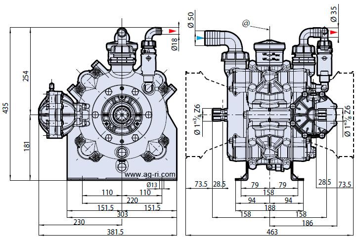 Размеры насоса на опрыскиватель AR 185 bp