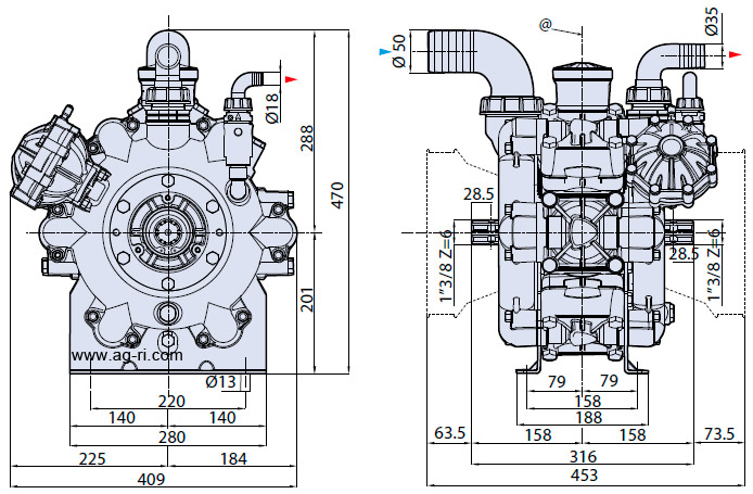 Размеры насоса AR-215-bp