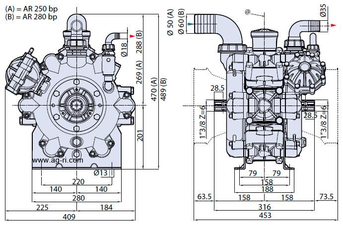 Размеры насоса AR 250 bp