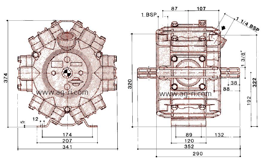 Размеры насоса Hardi 363 серии