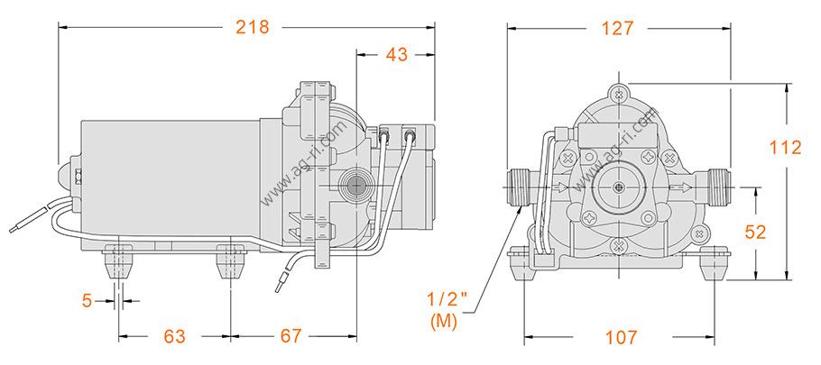 Размеры диафрагменного насоса Shurflo 2088-474-144 24 Вольта