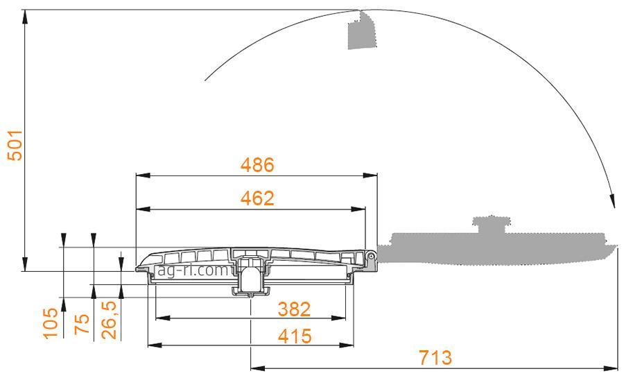 Размеры крышки бака откидной Arag