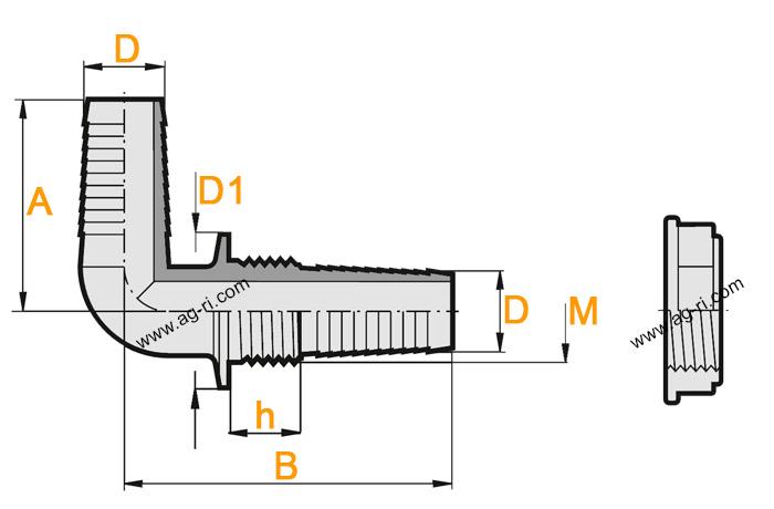Размеры патрубка для сброса Arag