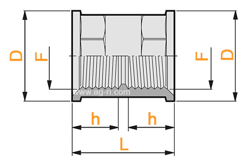 Размеры переходник прямой симметричный Arag (внутренняя резьба)