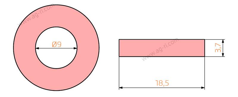 Размеры прокладки 08 красной Агропласт форсунки