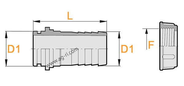 Размеры прямого штуцера под барашковую гайку