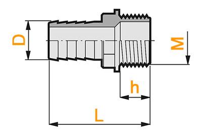 Размеры прямой штуцер с наружной резьбой