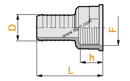 Размеры прямого штуцера Arag (внутренняя резьба)