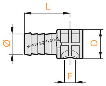 Размеры штуцера Arag концевого