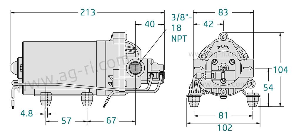 Размеры насоса 12 вольт shurfo 8000-543-238
