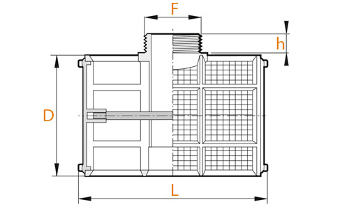Размеры T-образного фильтра Arag