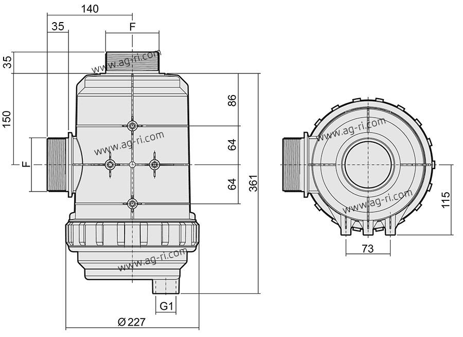 Розміри всмоктуючого фільтру Arag 319