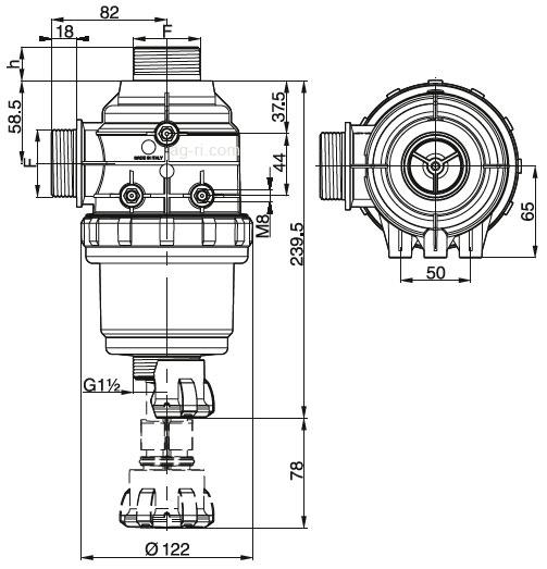 Размеры всасывающего фильтра Arag 314 серии
