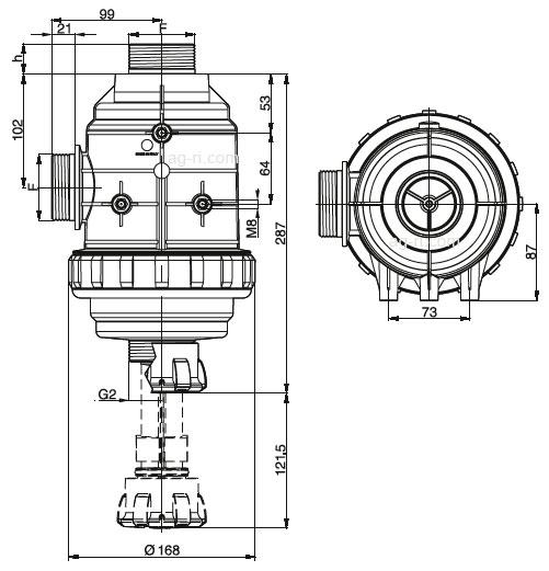 Размеры Всасывающего фильтра Arag 316 серии