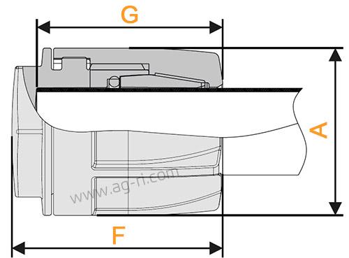 Размеры быстроразъемной заглушки Arag