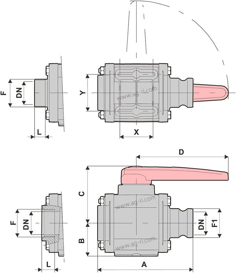 Размерная таблица кран 2-ходовой Arag быстроразъём