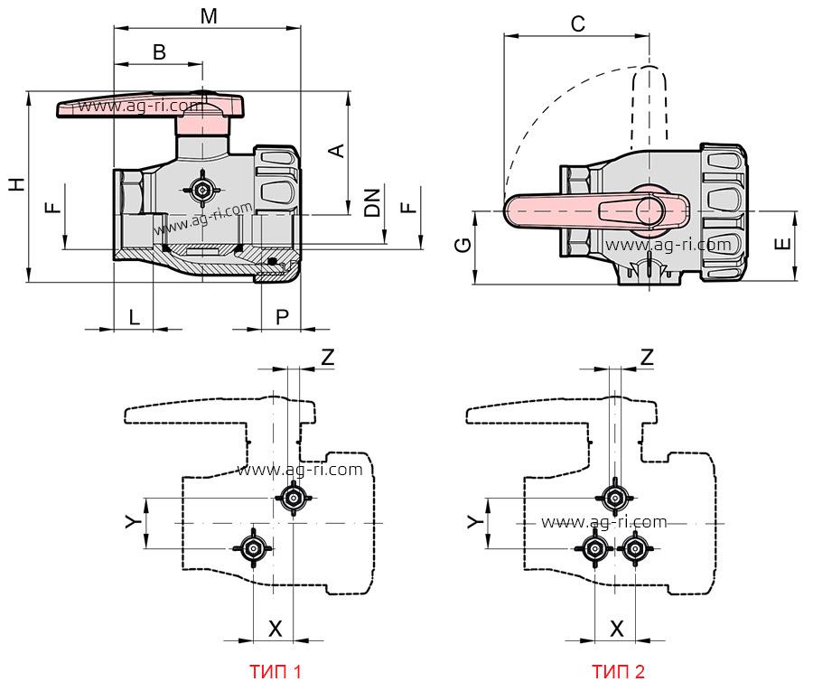 Размеры Кран 2-ходовой Arag 455 (внутренняя резьба)